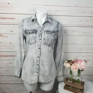 Maurices Acid Wash Snap Up Shirt Lightweight